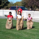 Children in sack race